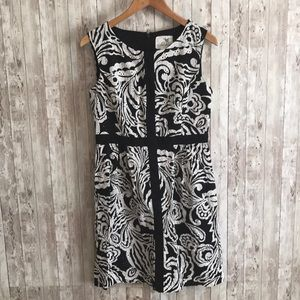 Anthropologie Tabitha black and white floral dress